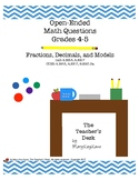 Open-Ended Math Questions, Grades 4-5, Fractions, Decimals, and Models