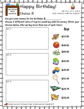 Open-Ended Math Questions Grades 4-5 Problem Solving, Money, Multiplication