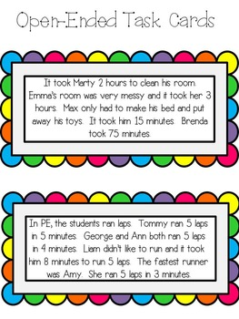 Open Ended Math Task Cards for Higher Level Thinking