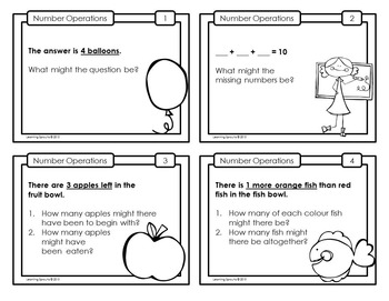 Open Ended Mathematics: Addition and Subtraction Task Cards Set 2 (UK Spelling)