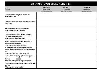 Mathematics: Open-Ended 3D Shape Problems