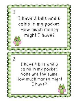 Open Ended Math Word Problems with Money - Complete Math Center