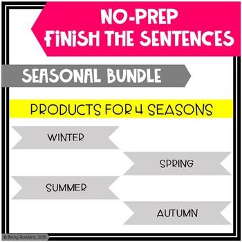 Open-Ended, No Print, Seasonal-Themed, Finish The Sentences Activities BUNDLE!!