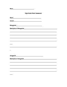 Open Ended Novel Assessment