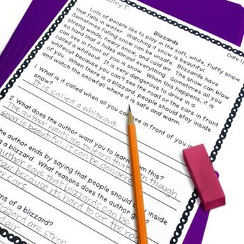 Open Ended Questions for 2nd Grade: Restate the Question Reading Comprehension