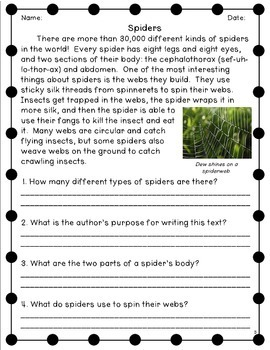 Open Ended Passages for 2nd Grade Set 2: Restate the Question Comprehension