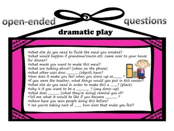 Open-Ended Questions: Pre-K/K Centers Posters: Questions for adults to ask