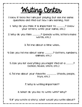 Open Ended Questions for Classroom Centers