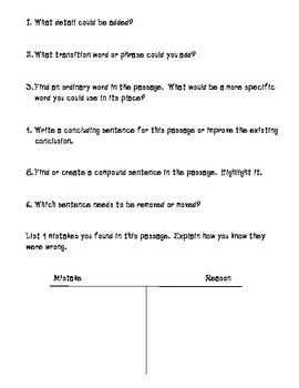 Open-Ended Questions for Revision and Editing STAAR Essays