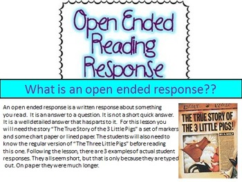 Open Ended Response Lesson with power point, examples, and practice