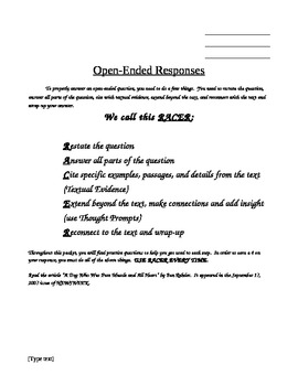 Open-Ended Responses to Literature- RACER Method