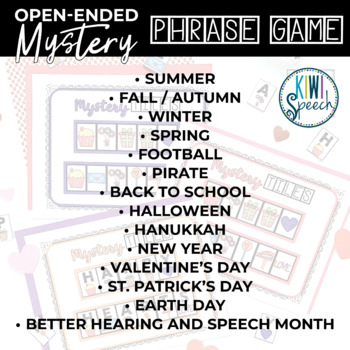 Open Ended Mystery Phrase Game for Speech Therapy {Seasonal BUNDLE}