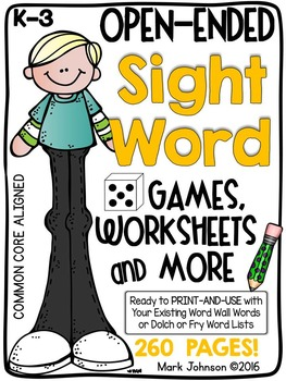 Open-Ended Sight Word Games, Worksheets, and More