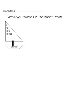 Open Ended Spelling or Word Work Worksheets