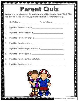 Open House Activity- Parent Quiz: Do you know your child's