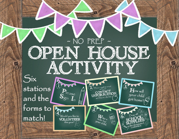 Open House Activity: Stations and Info Forms (Chalk Board Theme)