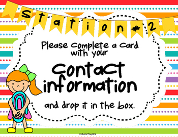 Open House Activity: Stations and Info Forms (Primary Colors/Back to School)