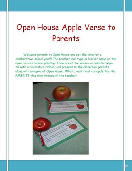 Open House Apple Poem and Treat for Parents