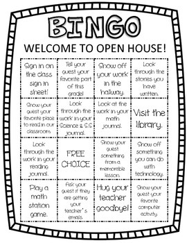Open House BINGO & Decor