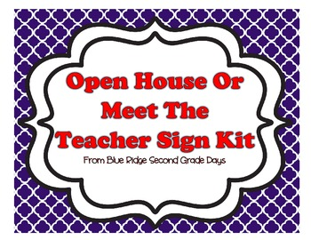 Open House, Back To School, Or Meet The Teacher Kit