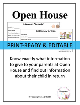 Open House/Back to School Night EDITABLE Forms for Middle & High School