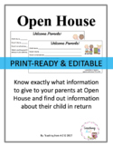 Open House/Back to School Night EDITABLE Forms for Middle