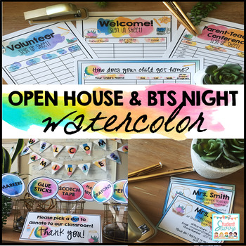 Open House Watercolor - Back to School Night & Meet the Teacher Forms