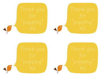 Open House/Back to School Night Popcorn Labels