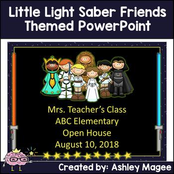 Open House/Back to School PowerPoint Template Little Light Saber Friends Theme