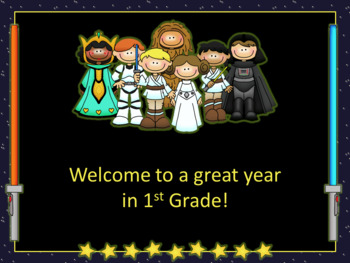 Open House/Back to School PowerPoint Template Little Light Saber Friends Theme