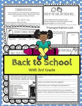 Open House/Back to School for 3rd Grade Teachers (Editable)