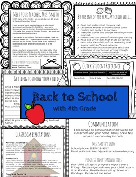 Open House/Back to School for 4th Grade Teachers (Editable)