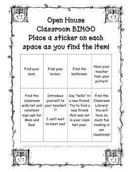 Open House Bingo