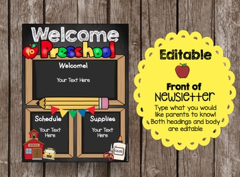 Open House Brochure - EDITABLE - Welcome to Preschool - Newsletter