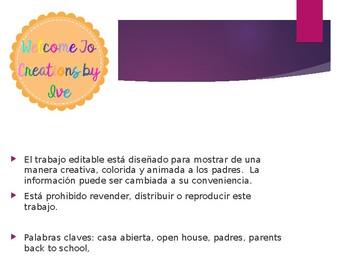 Open House Casa abierta Back to School Padres