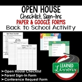 Open House Checklist and Sign-In Print and Google Form Teacher PD Series