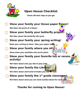 Open House Checklist for students