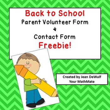 Open House:  Contact & Volunteer Forms     Freebie!