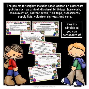 Open House PowerPoint - Meet the Teacher - Parent Night {Editable}