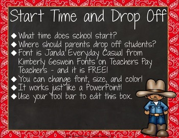 Open House or Back-to-School: Western / Cowboy - Editable PowerPoint