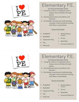 Open House Elementary P.E. Handout