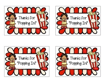 """Open House FREEBIE """"Thanks for Popping In"""" Popcorn Labels"""
