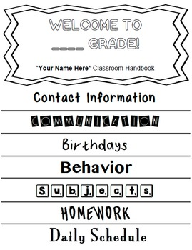 Open House Flip Book for Parents and Families *Editable*