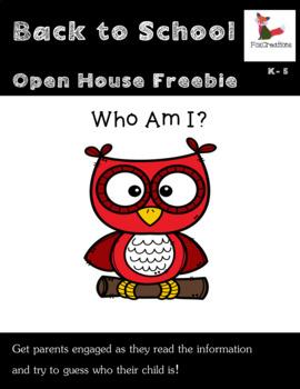 Open House Freebie ~ Who Am I? ~ Back to School
