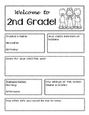 Open House - Get to know your student paperwork - 2nd Grade