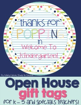 FREEBIE Open House Gift Tag for Blow Pops, Bubbles, or Popcorn