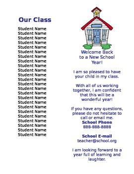 Open House Handout for Parents