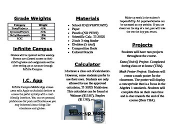 Open House High School Math Brochure