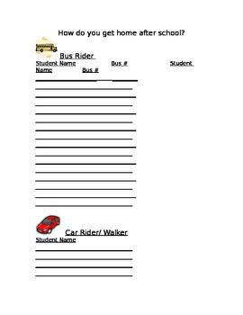 Open House - How are you getting home? parent fill out sheet.