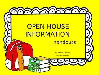 Open House Information Handouts-- EDITABLE